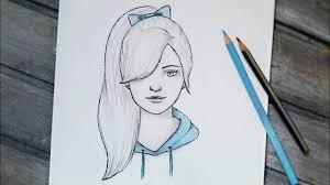 رسومات سهله بالرصاص طريقه رسم وجه بنت بالرصاص صور حزينه
