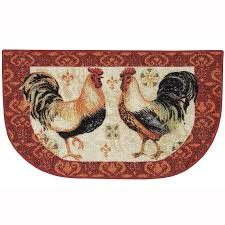 bohemian rooster washable kitchen rug