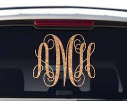 Monogram Car Decal Glitter Monogram Window Preppy Monogrammed Sticker Initials Decal Monogram For Wom Car Monogram Decal Monogram Car Stickers Car Monogram