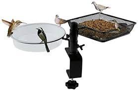 Wosibo Deck Bird Feeders With Platform Metal Mesh Tray Deck Mount Bird Bath And Detachable Heavy Duty Sturdy Clamp Fence Balcony Bird Feeder For Attracting Birds Amazon Sg Lawn Garden