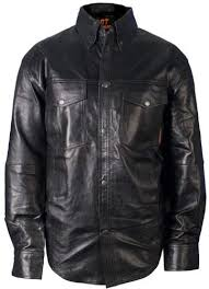 hot leathers men s leather shirt
