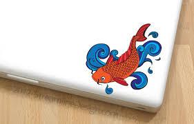 Colorful Koi Vinyl Laptop Or Automotive Art Free Shipping Goldfish Pond Fish Japanese Fish Koi Laptop Sticker Nautical Goldfish Decal