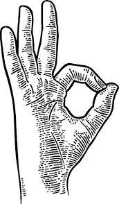 Amazon Com Simple Ok Hand Gesture Symbol Cartoon Icon Vinyl Sticker Black White Automotive