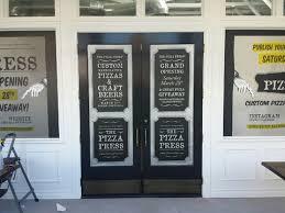 The Pizza Press Opens And Adds Vinyl Door Window Graphics