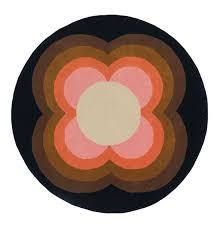 orla kiely sunflower pink circle rug