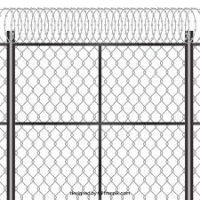 Free Vector Modern Metal Fence Design With Barbed Wire