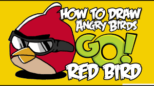 How to draw Angry birds GO!! Red Bird. - YouTube