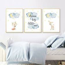 Deer Cloud Nursery Quotes Poster Canvas Wall Art Print Baby Kids Bedroom Decor Ebay