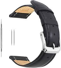 18mm black calf leather watch band