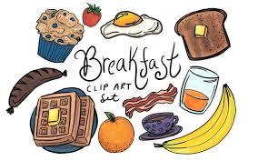 Hand Drawn Breakfast Clip Art commercial use breakfast clip | Etsy