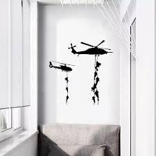 Helicopter Army Soldier Wall Stickers Vinyl Wall Art Decals For Teens Boys Men Military Fans Bedroom Home Decoration Wall Stickers Aliexpress