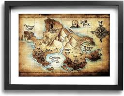 Amazon Com Lp Art Peter Pan Map Of Neverland Photo Drawing Printed Art Poster Modern Home Decor Wall Art Home Decorations For Home Or Office Decorations 12 X16 Black Framed Posters Prints