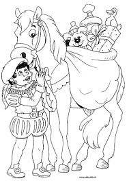 Zwarte Piet Met Het Paard Van Sinterklaas En Een Heleboel