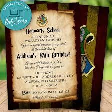 Invitacion De Cumpleanos De Harry Potter Wizard Editable Descarga