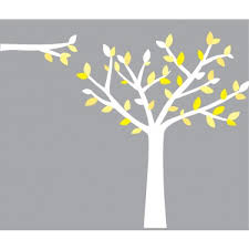 Yellow And Grey Wall Stickers Tree For Nursery Or Baby Room