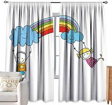 Amazon Com Cobedecor Kids Room Curtains Rainbow Cartoon Style Two Cute Kids Swinging Clouds On Rainbow Children Fun Stars And Dots Multicolor Bedroom Balcony Living Room W84 Xl84 Home Kitchen