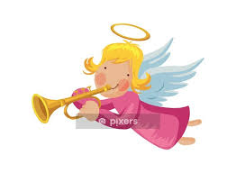 angel with trumpet and halo wall decal