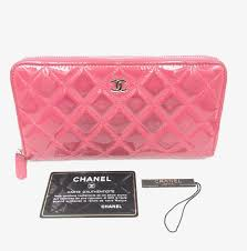 patent leather pink zippy wallet purse