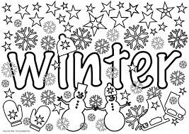 Block Poster Winter Winter Kleuren Knutselen Kleurplaat