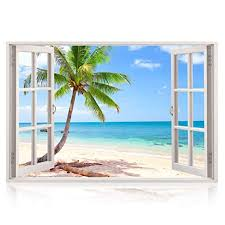 Realistic Window Wall Decal Peel And Stick Nautical Decor For Living Room Bedroom Office Playroom Beach Wall Beachfront Decor
