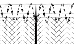 Barbed Wire And Fence Front View Of A Wire Mesh Black And White Stock Photo Picture And Royalty Free Image Image 132193041
