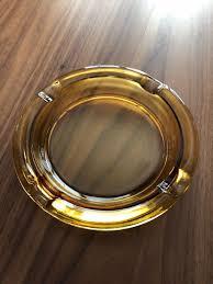 large vintage amber glass ashtray for