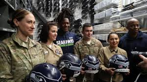 Seahawks Military Members Place Decals On Helmets Ahead Of Thursday S Salute To Service Game