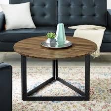 dark walnut round coffee table