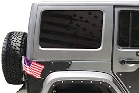Amazon Com Tactical Decals Distressed Usa Flag Decals For Hardtop Windows Jeep Wrangler 4 Door Matte Black Both Driver And Passenger Side Arts Crafts Sewing