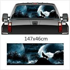 Car Rear Window Tailgate Wolf Howling Moon Galaxy Sticker Decal For Truck Suv Ebay
