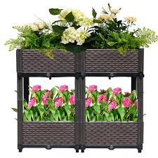 Us 99 99 Reliancer Set Of 4 Raised Garden Beds W Brackets Elevated Garden Bed Kit Patio Flower Plant Planter Box Vegetables Planting Container Fence Indoor Outdoor For Porches Decks Balconies Yard Gardening