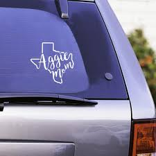 Texas A M Aggie Mom Curly Print Decal White Aggieland Outfitters