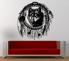 Wolf Head Native American Indian Dreamcatcher Wall Graphic Decal Sticker Vinyl Mural Leaving Bed Wall Graphics Native American Cherokee Native American Indians