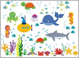Sea Ocean Wall Decals Nursery Marine Wall Decals Whale Shark Fish Nurserydecals4you