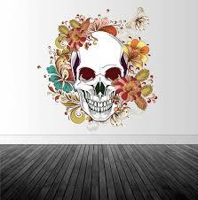 Sugar Skull Wall Decal Sugar Skull Wall Art Vinyl Wall Decal Removable Wall Sticker Home Decor Vinyl Graphics Infinite Graphics