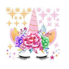 Leuchten Cute Unicorn Stars Wall Stickers For Girls Bedroom Flowers Wall Decals Walmart Com Walmart Com