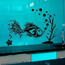 Shop Fish Starfish Seaweed Vinyl Decal Art Mural Sticker Interior Nursery Room Decor Sticker Decal Size 44x60 Color Black Frst Overstock 15428050