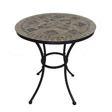 wrought iron mosaic table chair patio