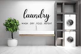 Wash Dry Fold Repeat Laundry Room Wall Vinyl Decal Lwd010 Pixelavinylpaper