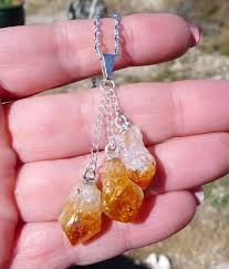 dangling rough citrine crystals