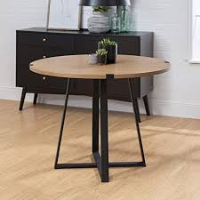 Amazon Com Walker Edison 4 Person Round Industrial Modern Wood Small Dining Tabledining Room Kitchen Table Set Dining Chairs Set English Oak Brown Black40 Inch Furniture Decor