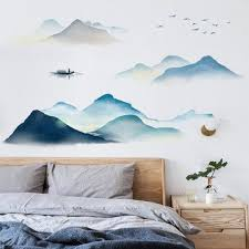 Elegant Chinese Style Blue Mountain And Boat Wall Decals Living Room Well Decor Simple Wall Art Prints Water Wall Stickers Peel And Stick Thefuns On Artfire