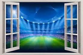 Football Stadium View 3d Window Decal Wall Sticker Decor Art Wallpaper Mural Ebay