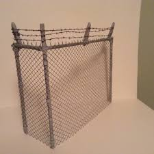 1 12 Chain Link Fence With Barbed Wire Handmade Miniatures Chain Link Fence Diorama