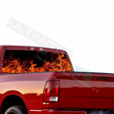 Flames Designs Decals Rear Window See Thru Stickers Perforated For Dodge Ram Ebay