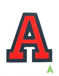 embroidered two colors letters on felt