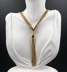 gold tassel pendant necklace fringe