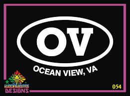 Ocean View Norfolk Va Oval Vinyl Decal