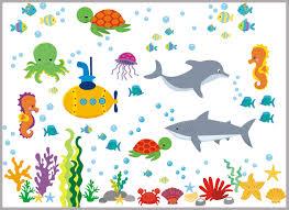 Sea Ocean Wall Decals Nursery Marine Wall Decals Dolphin Shark Nurserydecals4you