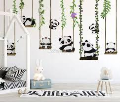 panda bears with swing wallpaper mural